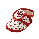 Krabbelschuhe Babyschuhe Lauflernschuhe Kleinkind Ronamick Klettverschluss Fußball Star Baby Kinder Junge Schuhe Netter Rutschsicheren(Age:0~6 Monate, Rot)
