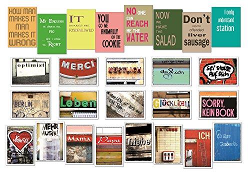 """Postkarten Set / Karten Set - 48 Stück - FREI WÄHLBAR - """"Engleutsch for Oncatcher"""" - """"Die schöne Sprache"""" +++ Von tom bäcker - Denglisch"""