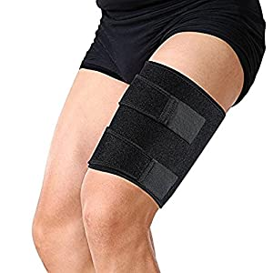 Compression Thigh Support Brace for Men and Women Adjustable Wrap Straps Neoprene for Football Sports and Pulled Injury Strain Tendonitis Rehab and Hamstring Recovery One Size Fits Unisex Black
