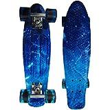 """Wiseminnie Retro Skateboards Mini Cruiser Board Complete 22"""" Plastic Boards Vintage Style Graffiti Graphic Printed"""
