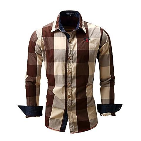 Yiye - Pull de sport - Avec boutons - À Carreaux - Col Chemise Classique - Homme - marron - X-Large