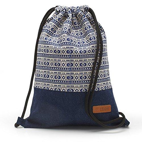 By-Bers LEON Tasche Turnbeutel Rucksack Sportbeutel Gym Bag Gymsack Hipster Fashion (white-bluejeans) (White Vintage-handtasche)