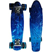 "Wiseminnie Retro Skateboards Mini Cruiser Board Complete 22"" Plastic Boards Vintage Style Graffiti Graphic Printed"