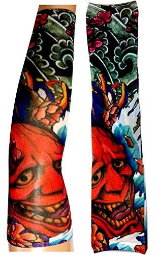 Manicotto tattoo - manica - tatuaggio finto - immagine - diavolo - demone - fiori - fantasia - scritta - tatoo - mezza manica - tribale - idea regalo natale compleanno - w88