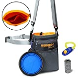 Dog Training Pouch Treat Bag Dual Compartments Insulated - with Poo Bag & Collapsible Travel Bowl & Pet Clicker - Travel Walking Bag (Grey) By HeroDog