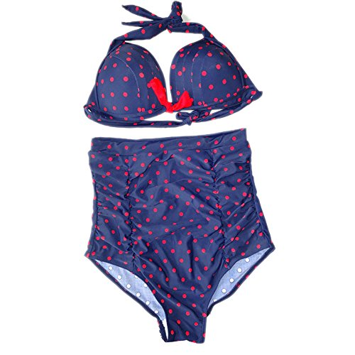 Pinkyee Women's Retro, hohe Leibhöhe, Sexy Bikini Set Blau - Blau