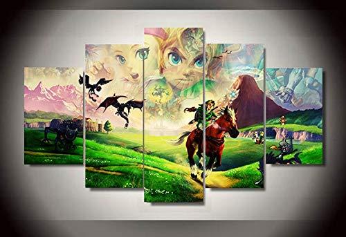 LAKHAFZY Rahmenlos 5 Stücke Zelda 25-Jähriges Jubiläum Spiel Poster Moderne Home Decor Leinwandbild Kunst Hd Drucken Malerei Auf Leinwand Kunstwerke