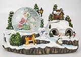 29cm Musical de Navidad Decoración Resina Con la Navidad Bola de Nieve + Tren móvil con las luces LED con pilas