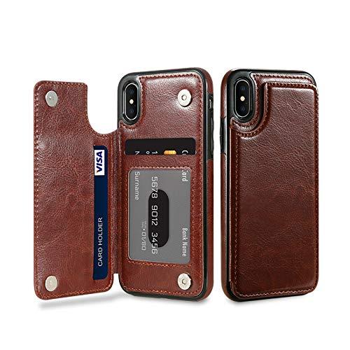 Preisvergleich Produktbild KISSCASE Retro-Klapphülle für iPhone X 10 7 8 Plus mit Kartenfächern,  vertikale Brieftaschen-Schutzhülle für iPhone 5 5S SE 6 6S Plus For Iphone 7 plus braun