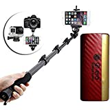 Selfie Stick Extendable Handheld Monopod Self Portrait With Zoom Bluetooth Shutter With Powerful D-Era Power Bank 13000 Mah With LED Indicators Compatible With All Smartphones -by Exosis