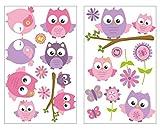 plot4u 19-teiliges Pinke Baby Eulen auf AST Wandtattoo Set Kinderzimmer Babyzimmer in 5 Größen (2x16x26cm Mehrfarbig)
