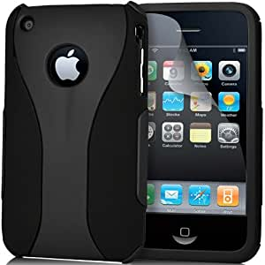 SUPERGETS® Exclusive Quality And Stylish Apple Iphone 3gs / 3g Dual Layer Hard Hybrid Armour case cover Includes Screen Protector And Supergets Polishing Cloth - Black