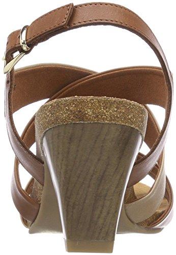 Caprice Damen 28310 Slingback Sandalen Mehrfarbig (Nut/Camel/Sand 346)