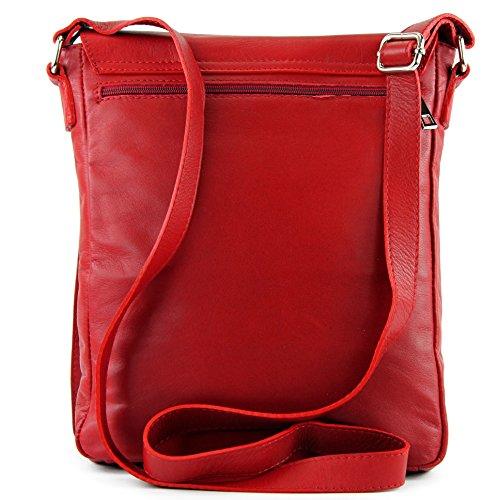 ital. Ledertasche Messengertasche Damentasche Herrentasche Umhängetasche Nappaleder T117 Rot