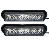 Linchview 1 Paar Frontblitzer 6W LED 12V/24V Orange Auto Warnleuchten Blitzlicht Stand Licht Cargo Truck Strobe Leuchten mit 16 Blitzmuster (6 LEDs 6W 1LED Lampe Perlen/1W)