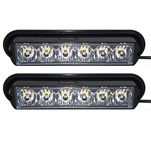 Linchview 1 Paar Frontblitzer 6W LED 12V/24V Orange Auto Warnleuchten Blitzlicht Stand Licht Cargo Truck Strobe Leuchten mit 16 Blitzmuster (6 LEDs 6W 1LED Lampe Perlen/1W) (Orange-licht-auto)
