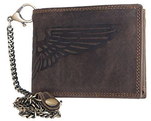 Billetera marrón Wild estilo motero de cuero naturales con con un ala y cadena de metal