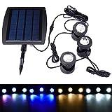 MASUNN Solar Powered 3 Unterwasser Strahler Wasserdicht Ip68 LED Outdoor Garten Pool Teichlandschaft Lichter - RGB