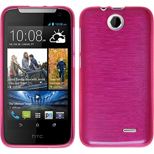 PhoneNatic Case für HTC Desire 310 Hülle Silikon pink brushed Cover Desire 310 Tasche + 2 Schutzfolien