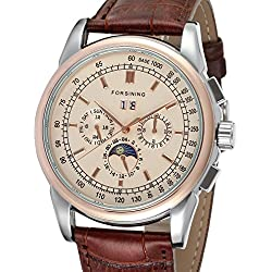 Forsining Men's High-end Automatic Moon Phase Leather Strap Analogue Collection Wrist Watch FSG319M3T2