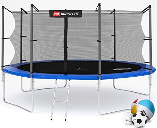 Hop-Sport Gartentrampolin 244, 305, 366, 430, 490 cm Komplettset inkl. Innennetz Leiter Wetterplane Erdanker Blau (430 cm)