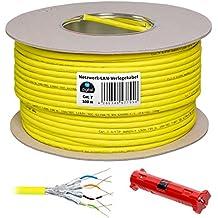HB DIGITAL Cable de red LAN cat5sh–Cabel Cat 7cobre AWG 23/1 Profi LAN Kabel + Abisolierer 100 m