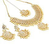 Shining Diva Gold Plated Kundan Pearl Traditional Necklace Set with Earrings for Women and Girls (White)(9609s)