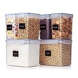 Vtopmart 6 Stück Vorratsdosen Set,Müsli Schüttdose & Frischhaltedosen, BPA frei Kunststoff Vorratsdosen luftdicht, 24 Etiketten für Getreide, Mehl, Zucker usw.