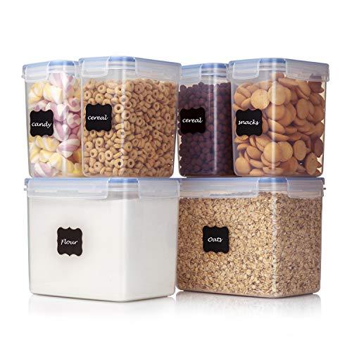 Vtopmart 6 Stück Vorratsdosen Set ,Müsli Schüttdose & Frischhaltedosen, BPA frei Kunststoff Vorratsdosen luftdicht, 24 Etiketten und Stifte für Getreide, Mehl, Zucker usw.