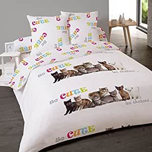 Housse de couette 220x240cm et deux taies so cute chat for Amazon housse de couette