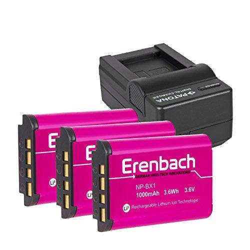 4in1-SET für den Sony HDR-CX405 Full HD Camcorder --- 3 ERENBACH Markenakkus für Sony NP-BX1 (starke 1000mAh) + Schnell-Ladegerät für Digitalkamera / Camcorder incl. KFZ-Lader (12V)