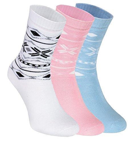 3 Paar Socken, Größe 36/38 dicke, warme, Frotté-Socken in der EU hergestellt, Baumwolle höchster Qualität, mit dem Zertifikat Öko-tex, in Farben weiß, rosa und hellblau