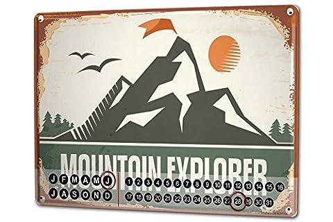 Perpetual Calendar Nostalgic Mountain explorer Tin Metal Magnetic