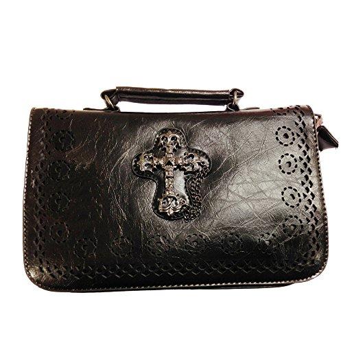 Banned Damen Handtasche Kreuz - Gothic Cross Schultertasche