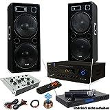etc-shop 3000W PA Party Musikanlage Boxen USB SD MP3 Bluetooth Verstärker Mixer Funkmikrofon DJ-Tornado