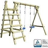 vidaXL Set de columpios con escaleras 268x154x210 cm madera de pino