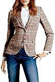 Frauen Im Britischen Anzug Kariert Kontrolliert Slim Der Blazer Jacke Mit Kragen Plaid XS