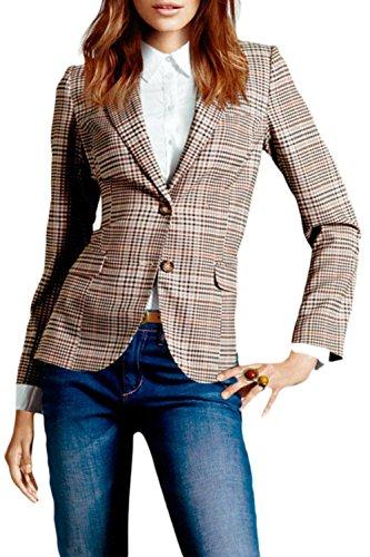 Sevozimda Frauen Im Britischen Anzug Kariert Kontrolliert Slim Der Blazer Jacke Mit Kragen Plaid M - Karo-blazer