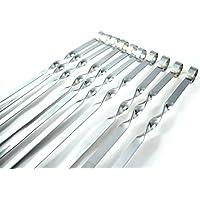 Set de 10pinchos de acero inoxidable para barbacoa 50cm de Longitud, 1cm ancho, 1,5mm de grosor. Cubre todas sus necesidades de barbacoa.