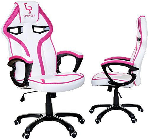 GP Racer Gaming Chefsessel Bürostuhl Modisch Racing Stuhl Computerstuhl Weiß/Pink
