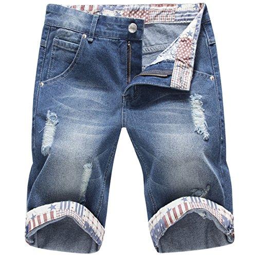 Mirecoo Herren Denim Jeans Kurze Shorts Sommer 5-Pocket Stil