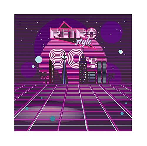 OERJU 1,5x1,5m Disko Party Hintergrund Neon-LED-Licht Dekor 80er Jahre Retro-Stil Nacht Hintergrund Kostümparty Retro Disco Abschlussball Poster Fotografie Requisiten