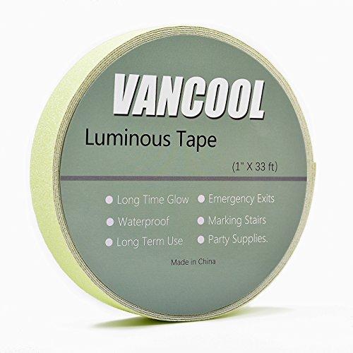 Vancool 10m×25mm Leuchtendes Klebeband luminous tape glow in the dark Selbstklebend, Anti-Rutsch, Wasserdicht