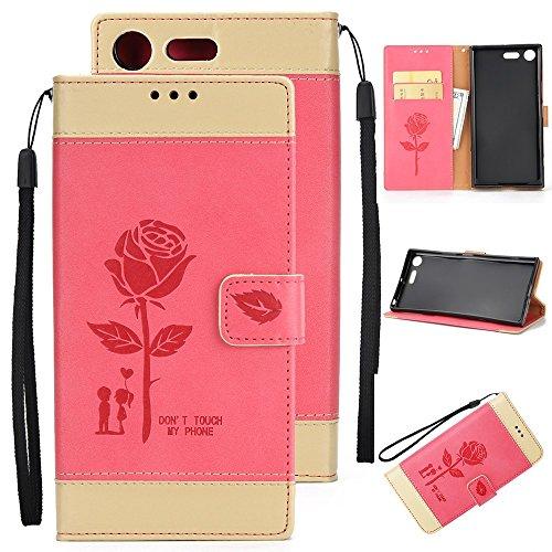 EKINHUI Case Cover Gemischte Farben Rose Blume matt Premium PU Leder Brieftasche Stand Case Cover mit Lanyard & Card Slots für Sony Xperia XZ Premium ( Color : White ) Red