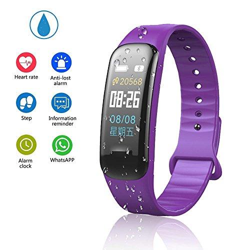 Teepao - Reloj de seguimiento de actividad básico, pulsera inteligente delgada, resistente al agua, con monitor de sueño, podómetro inteligente para pasos de distancia, calorías, color morado