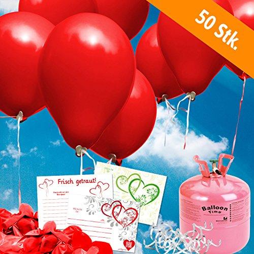 50 rote Helium Luftballons und Ballonkarten steigen lassen - Komplett Set aus Helium - Einwegflasche, Ballonflugkarten und Hochzeitsballons - Gas Luftballons für bis zu 50 Hochzeitsgäste mit Ballonflugkarten (Helium-tank Für 50 Ballons)