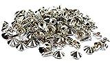 Spitznieten-Kegelnieten-Ziernieten 10x10mm Metall vernickelt. 50 Komplette Nieten.
