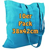 Sac en coton jute Sacs vierges avec deux longues anses Bleu clair 38x 42cm Lot de 10
