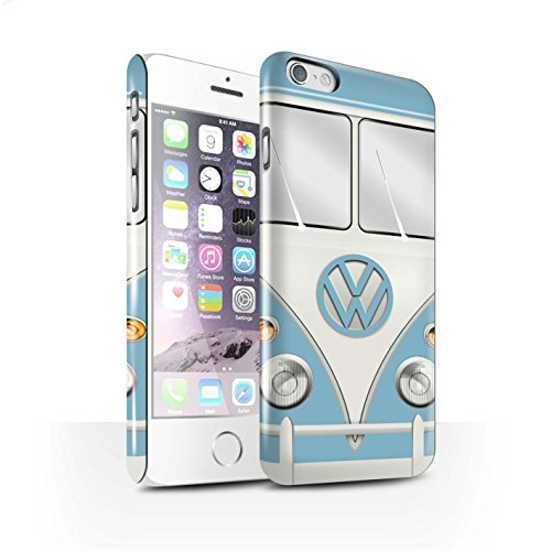 STUFF4 Glanz Snap-On Hülle / Case für Apple iPhone 6 / Mango Grün Muster / Retro T1 Wohnmobil Bus Kollektion Fjord Blau