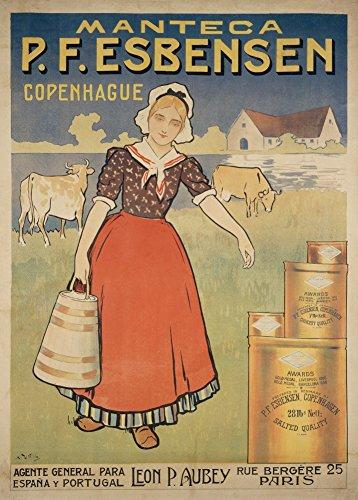 Vintage provisions et confiseries Manteca (Esbensen Beurre et de lait à partir de Copenhague C1900250g/m² Brillant Art carte Format A3